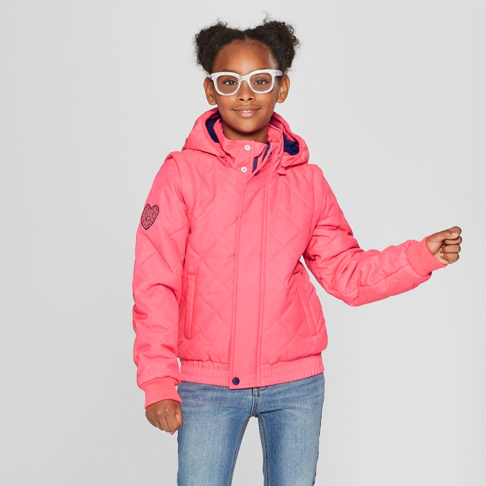 Girls' Quilted Jacket - Cat & Jack Pink XS