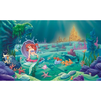 6'x10.5' Disney Princess Littlest Mermaid Chair Rail Prepasted Mural Ultra Strippable - RoomMates