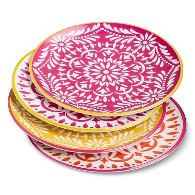 Marika Floral Melamine Assorted Dinner Plate 10.5 x10.5  Set 4-pc - Pink/Red
