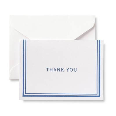 50ct Blue Bordered Thank You Cards