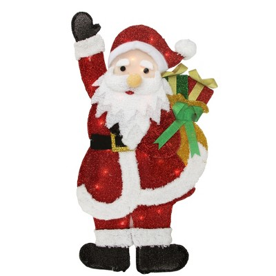 """Northlight 32"""" Red and White Lighted Waving Santa with Gifts Christmas Outdoor Decoration"""