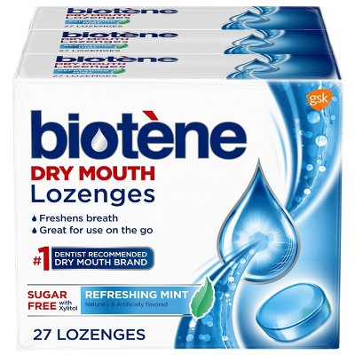 Biotene Dry Mouth Lozenges for Fresh Breath Refreshing Mint - 27ct/3pk