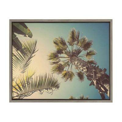 "18"" x 24"" Sylvie Palm Tree Sunburst Framed Canvas by Shawn St. Peter Gray - DesignOvation"