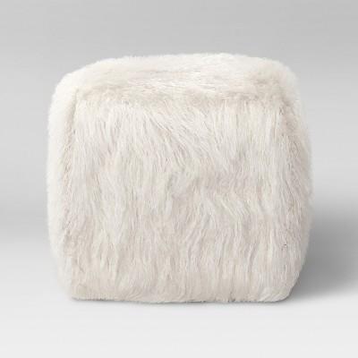 Faux Fur Pouf Ottoman White - Room Essentials™