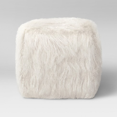 Faux Fur Pouf Ottoman White - Room Essentials™ - image 1 of 3