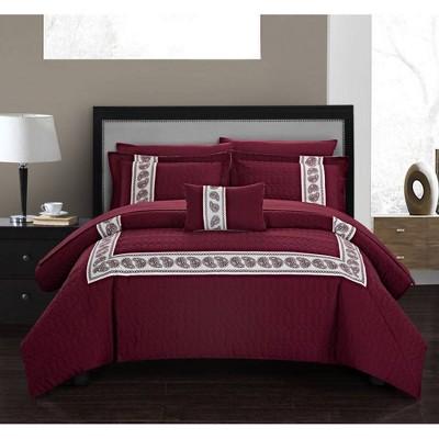 Chic Home Design King 8pc Mason Bed In A Bag Comforter Set Burgundy
