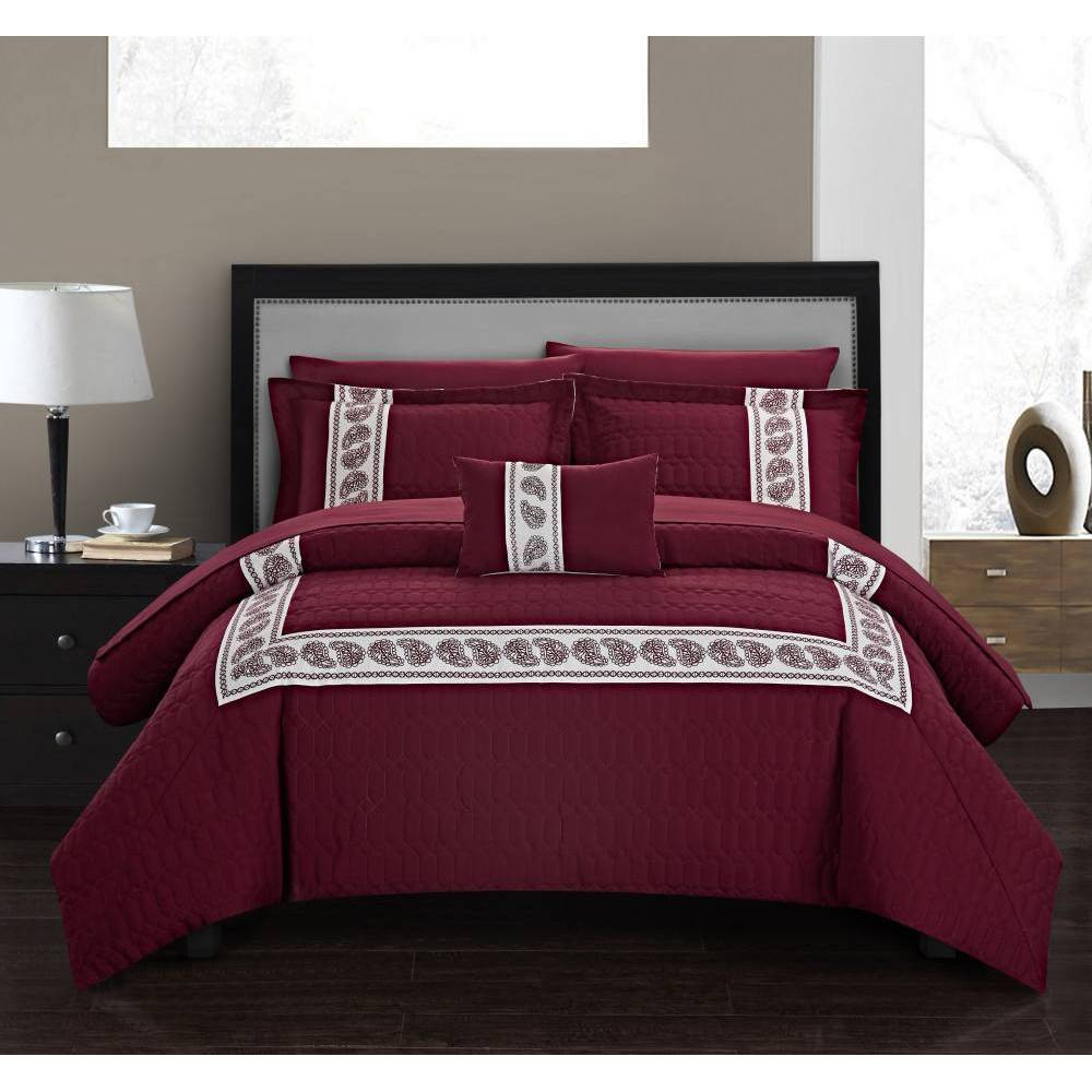 Chic Home Design King 8pc Mason Bed In A Bag Comforter Set Burgundy (Red)