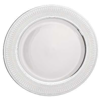 10 Strawberry Street Iriana Porcelain Dinner Plate 10.25   White/Light Silver - Set of 4