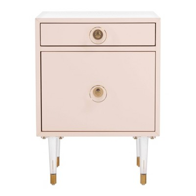 Harry 1 Drawer Side Table Light Pink/Gold - Safavieh