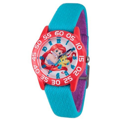 Girls' Disney Princess Ariel Red Plastic Time Teacher Watch - Blue - image 1 of 2