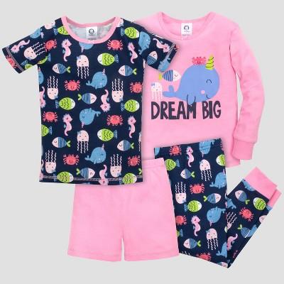 Gerber® Toddler Girls' 4pc Dream Big Pajama Set - Navy/Pink 18M