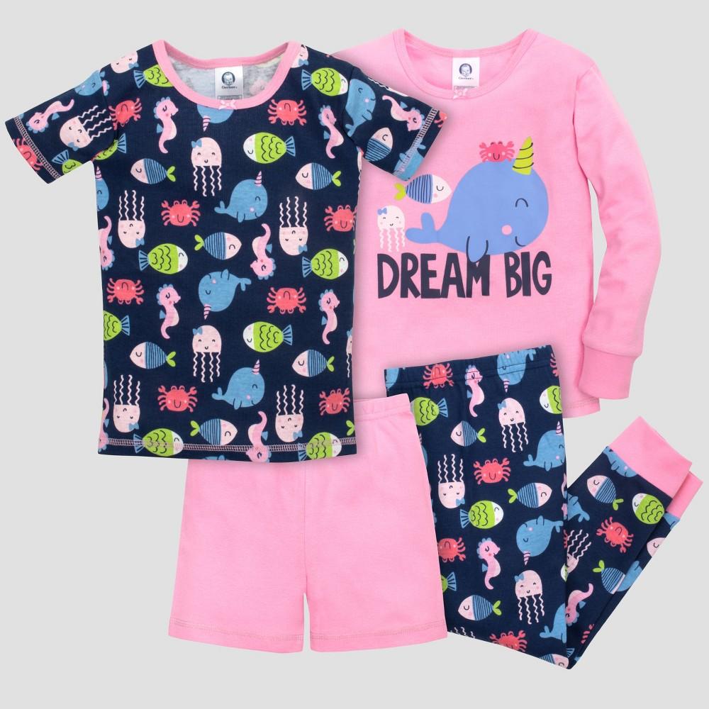Gerber Toddler Girls' 4pc Dream Big Pajama Set - Navy/Pink 24M