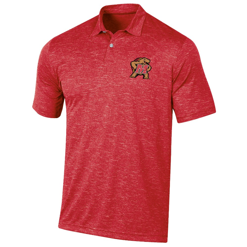 Maryland Terrapins Men's Short Sleeve Twisted Jersey Polo Shirt - L, Multicolored