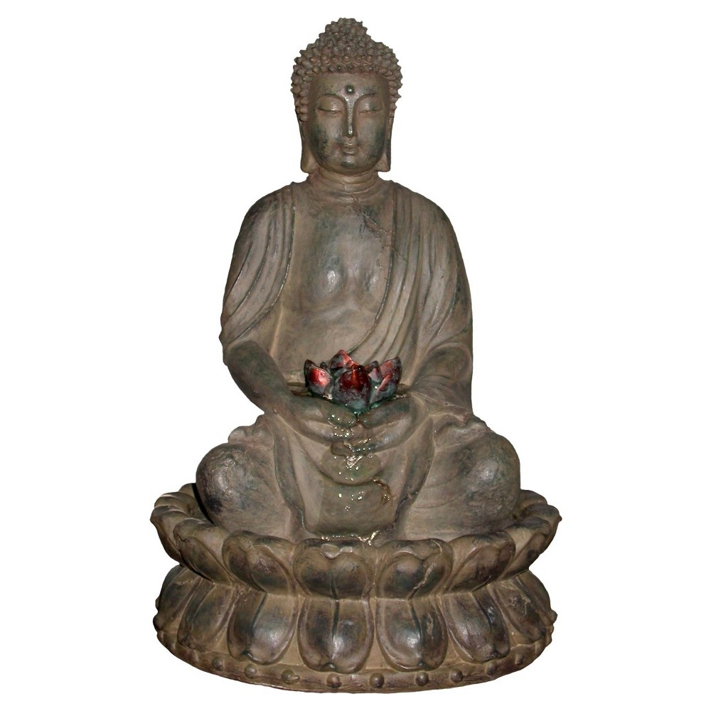 "Image of ""Alpine Corporation 19"""" Buddha With Lotus Flowers Tabletop Fountain With LED light - Brown"""