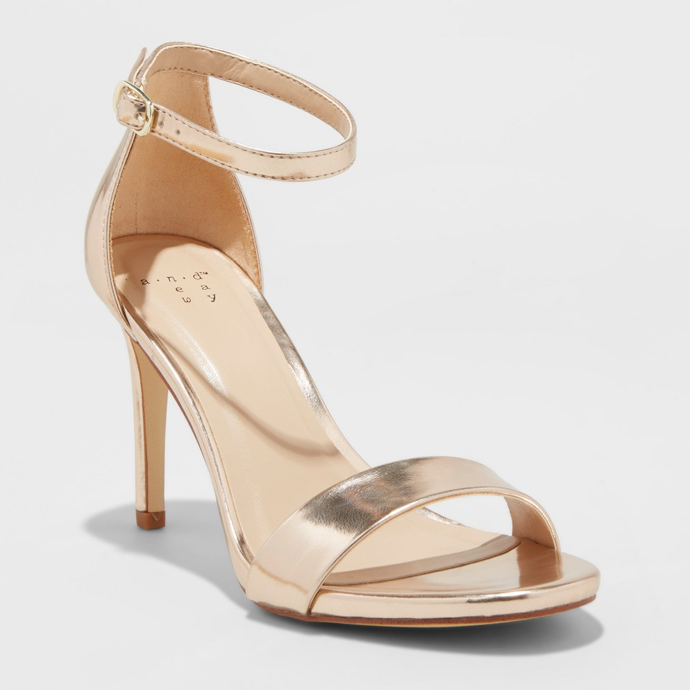 Women's Myla Wide Width Stiletto Pumps - A New Day Rose Gold 5W, Size: 5 Wide