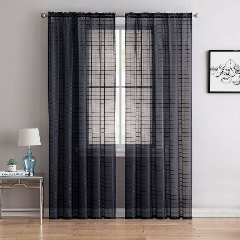 Goodgram 2 Pack Contemporary Plaid Sheer Voile Window Curtains Black Target