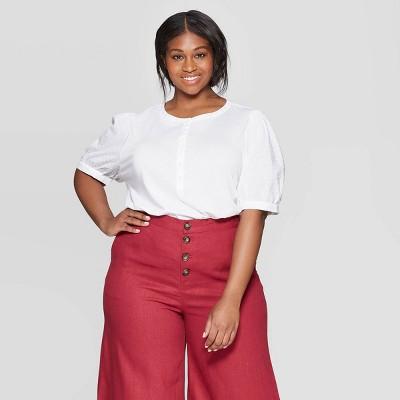 Women's Plus Size Long Poplin Sleeve Crewneck Henley Shirt   Who What Wear by Who What Wear