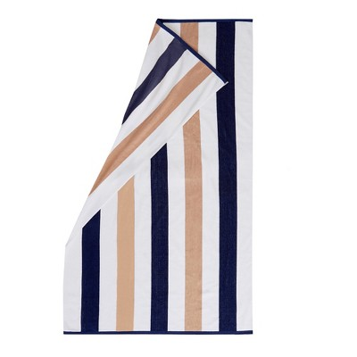 Great Bay Home Cabana Striped Reversible Oversized Beach Towel