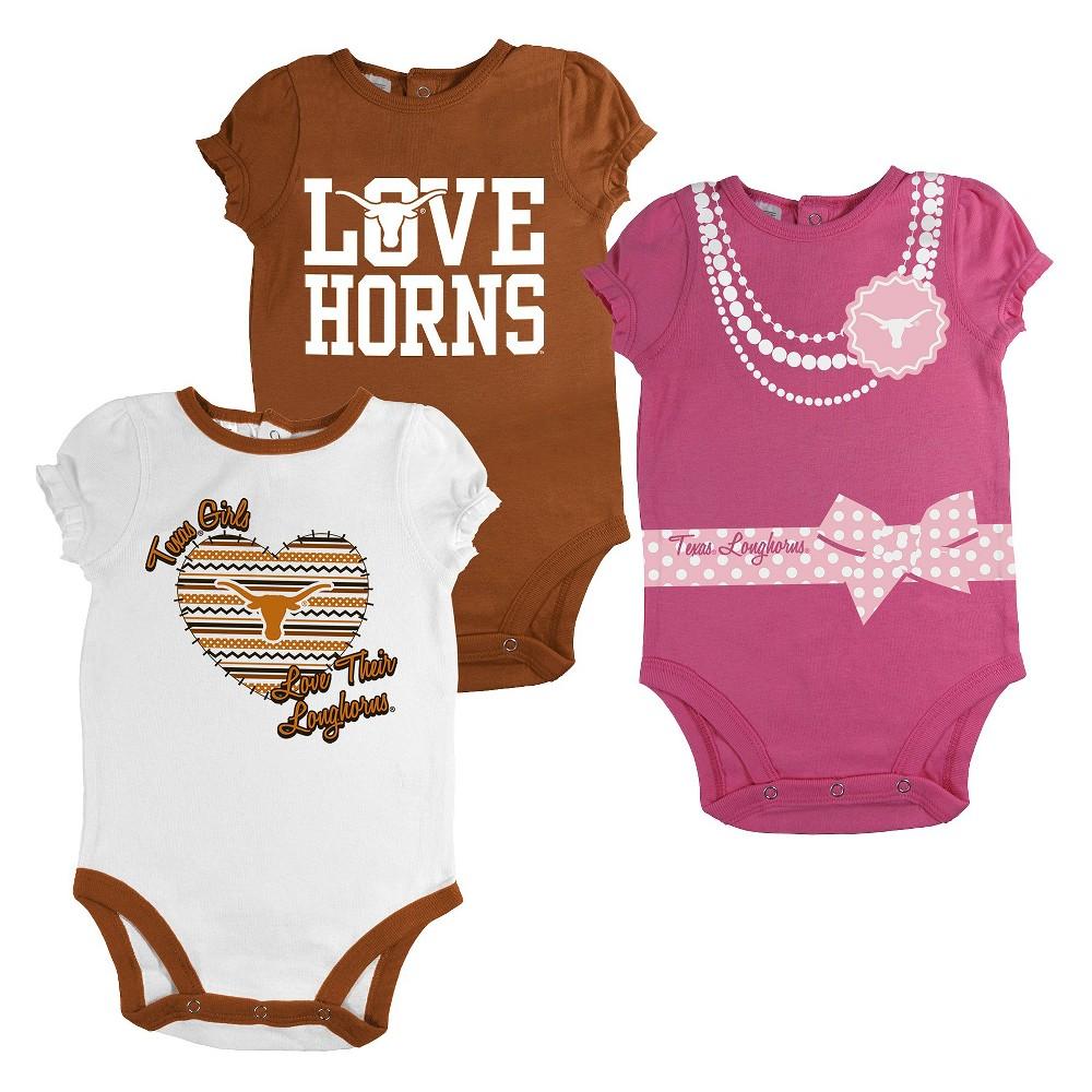 Texas Longhorns Newborn Girls 3pk Body Suit White S, Size: 3-6M
