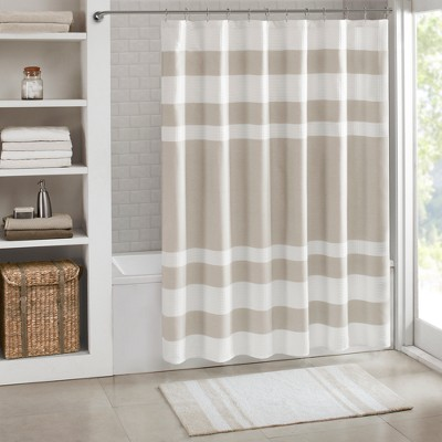 Spa Waffle Shower Curtain with 3M Treatment Taupe