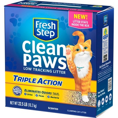 Fresh Step Clean Paws Triple Action Clumping Cat Litter Scented - 22.5lbs