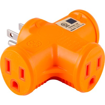 3 Outlet Heavy Duty Power Adapter Orange - General Electric