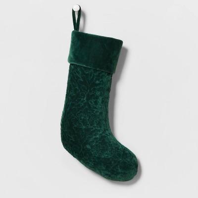 Velvet Quilted Christmas Stocking Green - Wondershop™