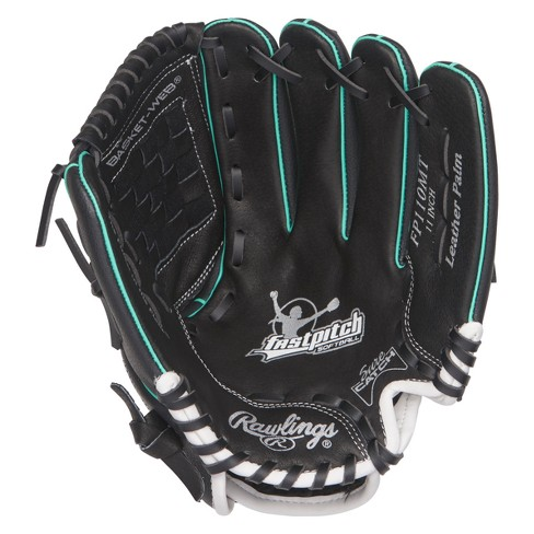 """Rawlings Fastpitch Series 11"""" Softball Glove - Black/Teal - image 1 of 3"""