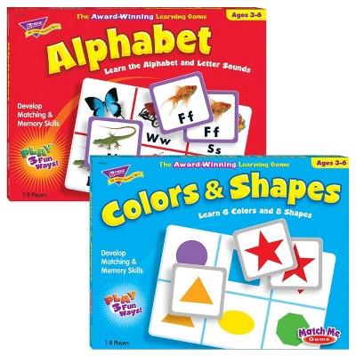 Trend Enterprises Match Me Game Set - Alphabet & Color and Shapes