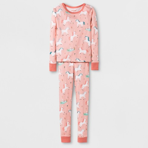 be839d7920 Girls  Unicorn Graphic Tight Fit Pajama Set - Cat   Jack™ Pink   Target