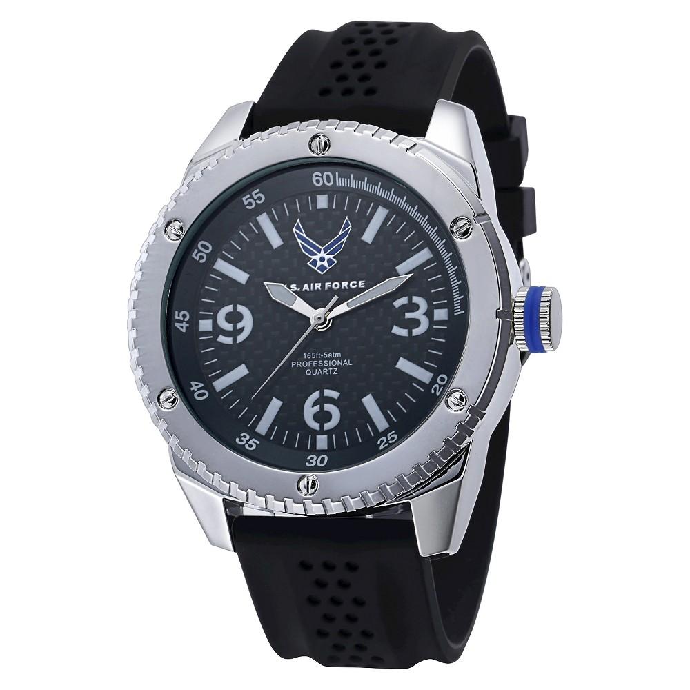 Men's U.S. Air Force C20 Watch By Wrist Armor, Faux Carbon Fiber Dial, Black Rubber Strap, Size: Small
