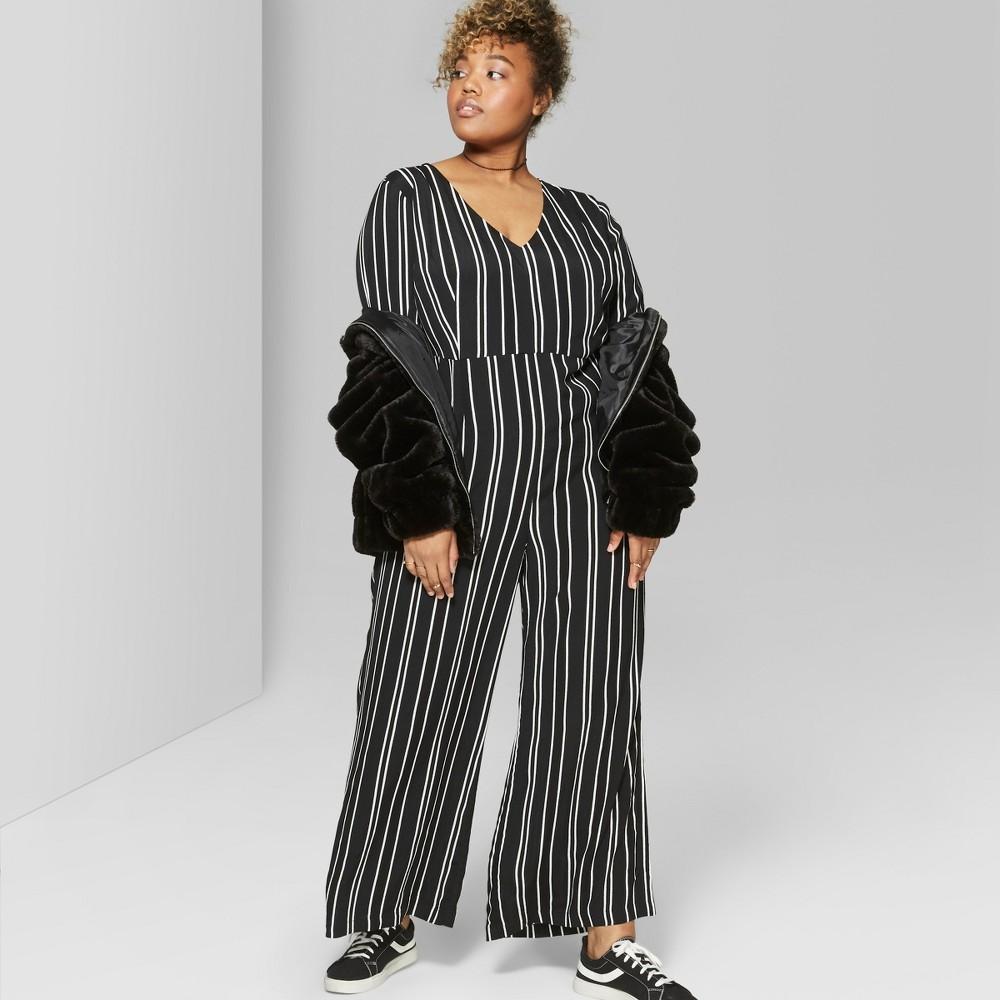 Women's Plus Size Striped Tie Short Sleeve Jumpsuit - Wild Fable Black/white 3X
