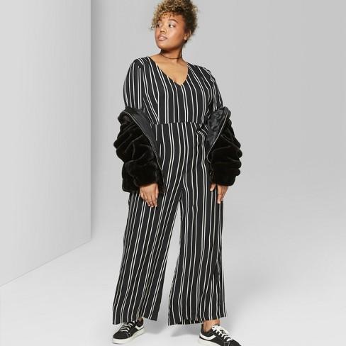 54f3c4876bc Women s Plus Size Tie Short Sleeve Jumpsuit - Wild Fable™ Black White