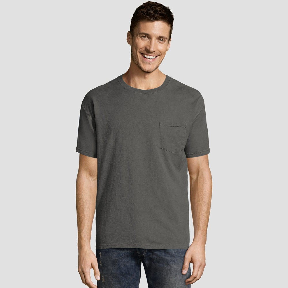 Hanes Men's Short Sleeve 1901 Garment Dyed Pocket T-Shirt - Railroad Gray Heather M