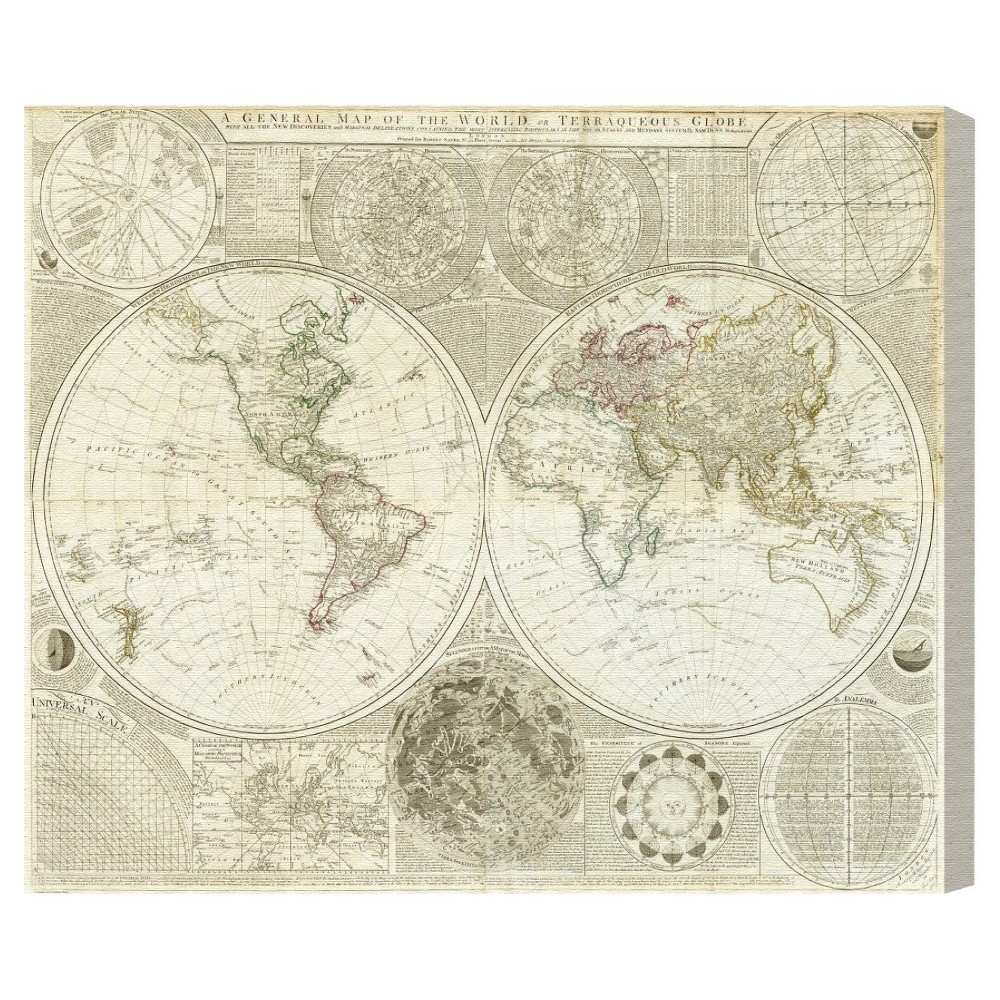"""Image of """"Oliver Gal Unframed Wall """"""""Terraqueous Globe Map 1787"""""""" Canvas Art (16x12), Neutral"""""""