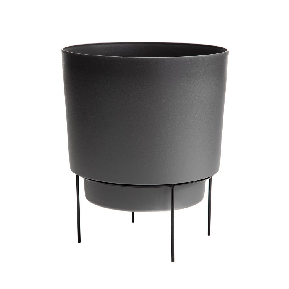Hopson Planter With 10 34 Metal Stand Charcoal Black Bloem