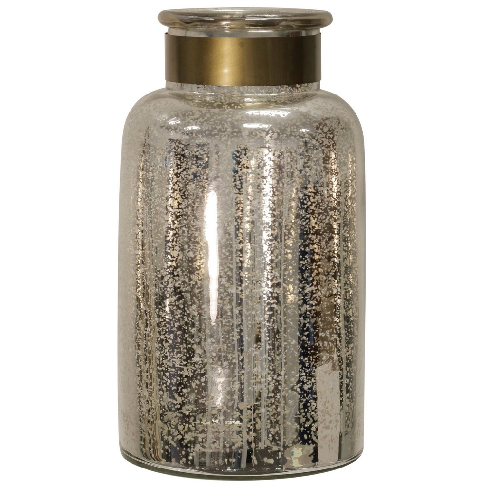 "Image of ""15"""" x 8"""" Hurricane Jar with Metal Band Antique Silver - StyleCraft, Size: 15"""" x 8"""""""