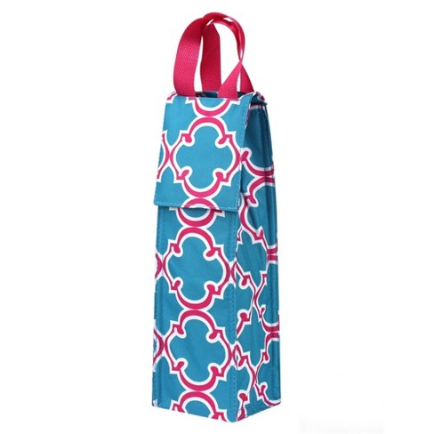 Wine Carrier Bag by Zodaca Lightweight Blue Quatrefoil Thermal Insulated Wine Bottle Tote Carrying Case Holder Bag for Travel Party Gift - image 1 of 2