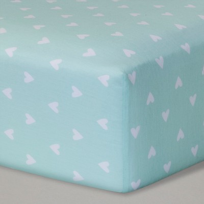 Fitted Crib Sheet Hearts - Cloud Island™ Mint
