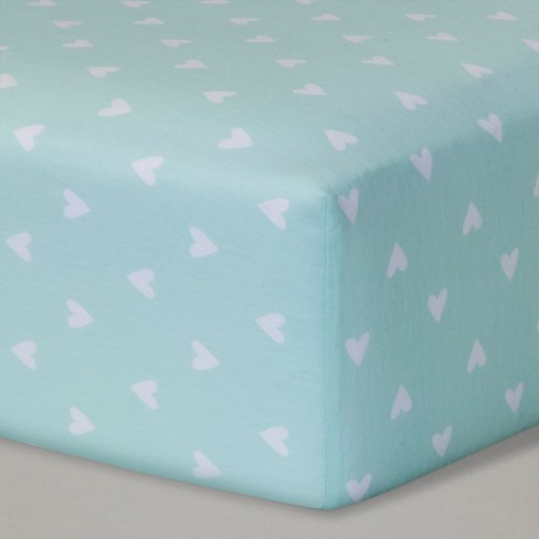 Fitted Crib Sheet Hearts - Cloud Island™ Mint - image 1 of 1