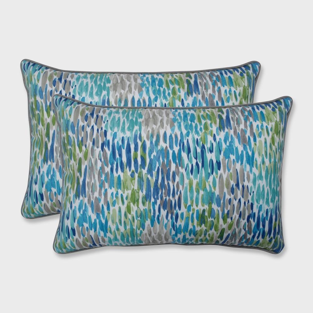 2pk Make it Rain Oversized Rectangular Outdoor Throw Pillow Cerulean Blue - Pillow Perfect