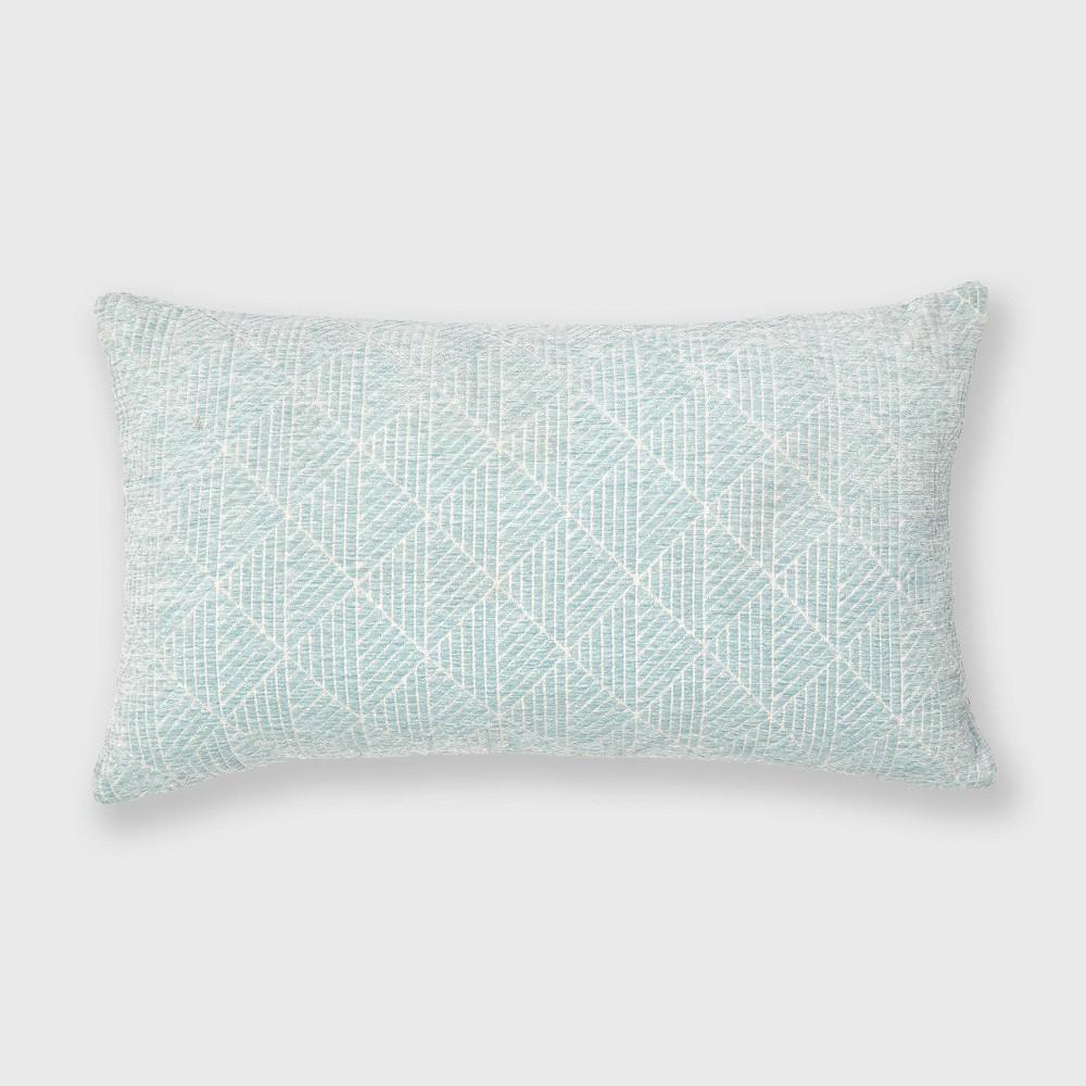 "Image of ""14""""x24"""" Geometric Chenille Woven Jacquard Throw Pillow Sterling Blue - Freshmint"""