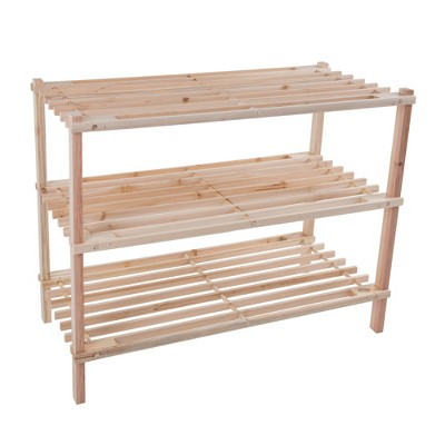 Hastings Home 3-Tier Wooden Shoe Rack - Organizes Up to 9-Pairs - Light Woodgrain