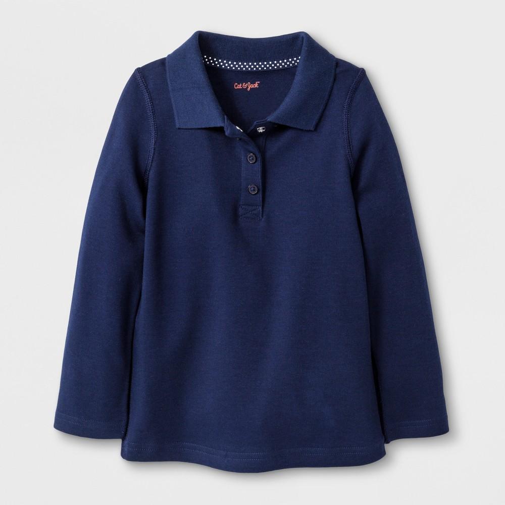 Toddler Girls' Adaptive Long Sleeve Uniform Polo Shirt - Cat & Jack Navy 5T, Blue