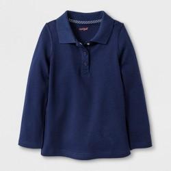 Toddler Girls' Adaptive Long Sleeve Uniform Polo Shirt - Cat & Jack™ Navy