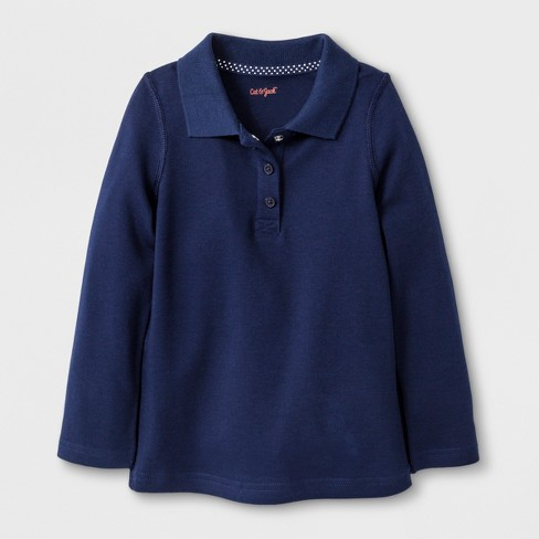 acee1aa04 Toddler Girls  Adaptive Long Sleeve Uniform Polo Shirt - Cat   Jack™ Navy