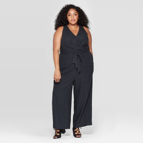 Women's Plus Size Sleeveless V-Neck Jumpsuit - Universal Thread™ - image 1 of 3