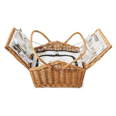 Large Picnic Basket 12-pc Set for 2 Willow