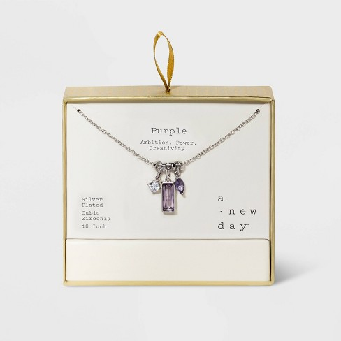 Silver Plated and Cubic Zirconia Charm Necklace - A New Day™ - image 1 of 4