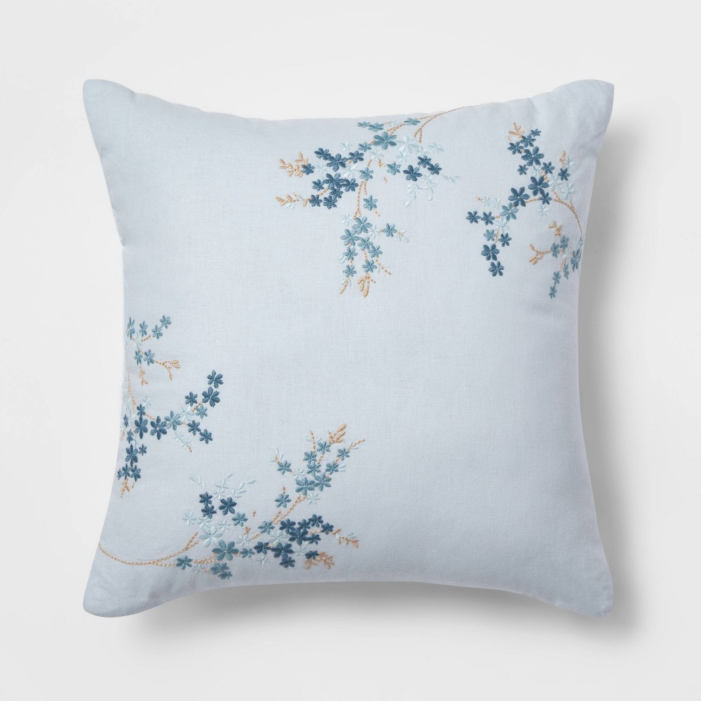 Square Floral Throw Pillow Blue - Simply Shabby Chic
